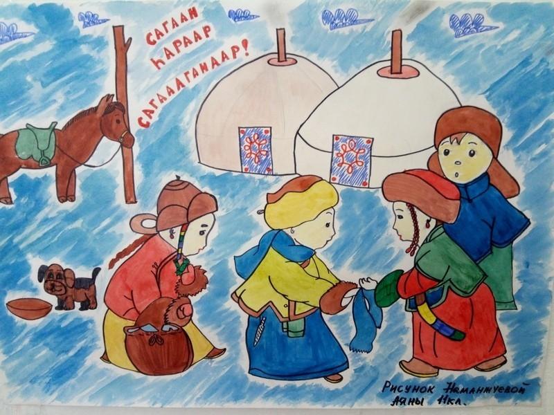 картинки раскраски к празднику сагаалган кухне